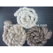 Sharrefun combed cashmere tops in white/ Ivory /Brown color