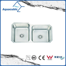 Doble tazón de fuente de acero inoxidable cepillado para cocina (ACS8445M)