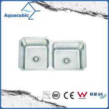 Pia de aço inoxidável escovado duplo para cozinha (ACS8445M)