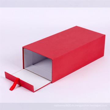 Boîte d'emballage cadeau flip rouge personnalisé avec des rubans