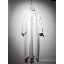 Мужской белый мусульманский халат с круглым вырезом и длинным рукавом