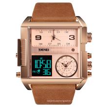 Top wristwatch reloj skmei manual genuine leather band watch