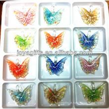 Art Lampwork pingente de borboleta de vidro com uma única cor