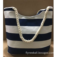 YRYB-0056,China Manufacturer direct sale canvas leisure cotton cord women's navy blue stripe shopping travelling bag