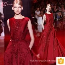 Alibaba Sexy Luxus Suzhou Open Back Wein Rot Puffy Prom Kleid Lange Abendkleider 2017