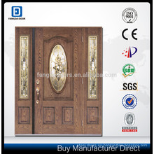 Fangda wood grain Caoba puerta de fibra de vidrio con vidrio
