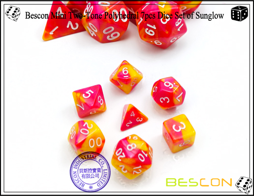Bescon Mini Two-Tone Polyhedral 7pcs Dice Set of Sunglow-2