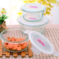 430ml 550ml 850ml Glass Food Container Round Shape