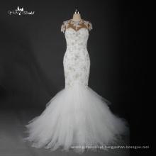 TW0176 Beading Beading Luxo Cap Sleevs Sereia Vestido de Noiva