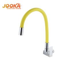 Профессиональный одиночный ручка смеситель для кухни с желтым шлангом
