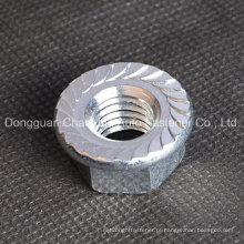 Porca de Flange Hexagonal de Aço Suave com Serragem