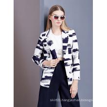 Women Abstract Print Long Sleeve Fahshion Jacket
