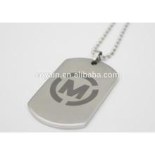 Etiqueta de perro pendiente del rectángulo del rectángulo del acero inoxidable del tono de la plata 5x3cm