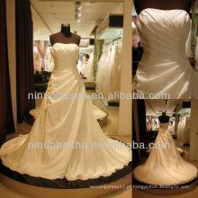 Q-6257 tafetá A linha de vestido de noiva Ruffles vestido de noiva