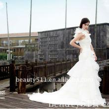 Aster jardín Foto real vestido de boda de organza WZS145