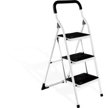 3 steps steel compact folding step ladder, folding steel ladder, stable step ladder made in china