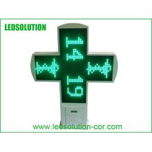 Cruz exterior da farmácia do diodo emissor de luz para anunciar a exposição com CE