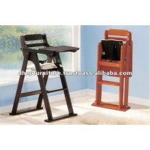 Cadeira alta de bebê dobrável, cadeira de alimentação de bebê de madeira