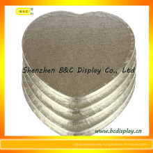 Hear Shape 12mm Thinckness Silver Foil Paper Wrapped Cake Drums with SGS (B&C-K039)