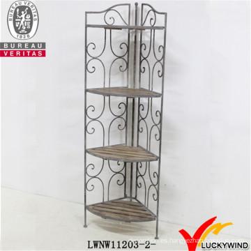 Soporte de esquina plegable de metal y madera