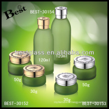 round frost 50g glass jar for face cream with aluminum cap , glass cosmetic jar in stock, personal care glass face care jar