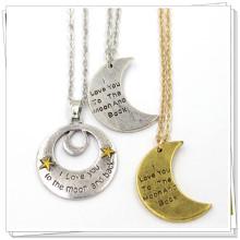 Prata de ouro personalizado lua forma jóia colar de jóias