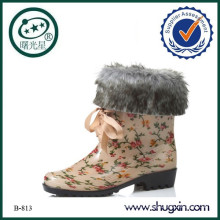 flache Ferse Plattform Stiefel Stiefel Frauen weißen Fell B-813