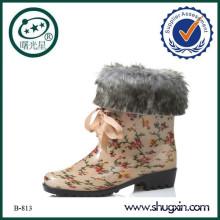flat heel platform boots boots women white fur B-813