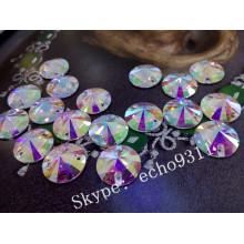 Alta qualidade ab cristal costurar em forma de pedras de vestuário redondo (dz-1041)
