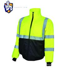 Winter Quilted Hi Vis Reflective Work Safety Parka Jacket Coat with Adjustable Hood