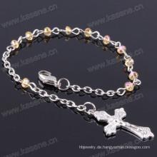 4mm Ab Champagner flache Kristallperlen religiösen Armband