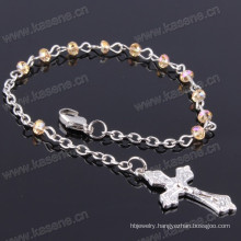 4mm Ab Champagne Flat Crystal Beads Religious Bracelet