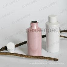 Farbige Aluminium-Kosmetikflasche mit weißer Kunststoff-Schraubkappe (flache Schulter)