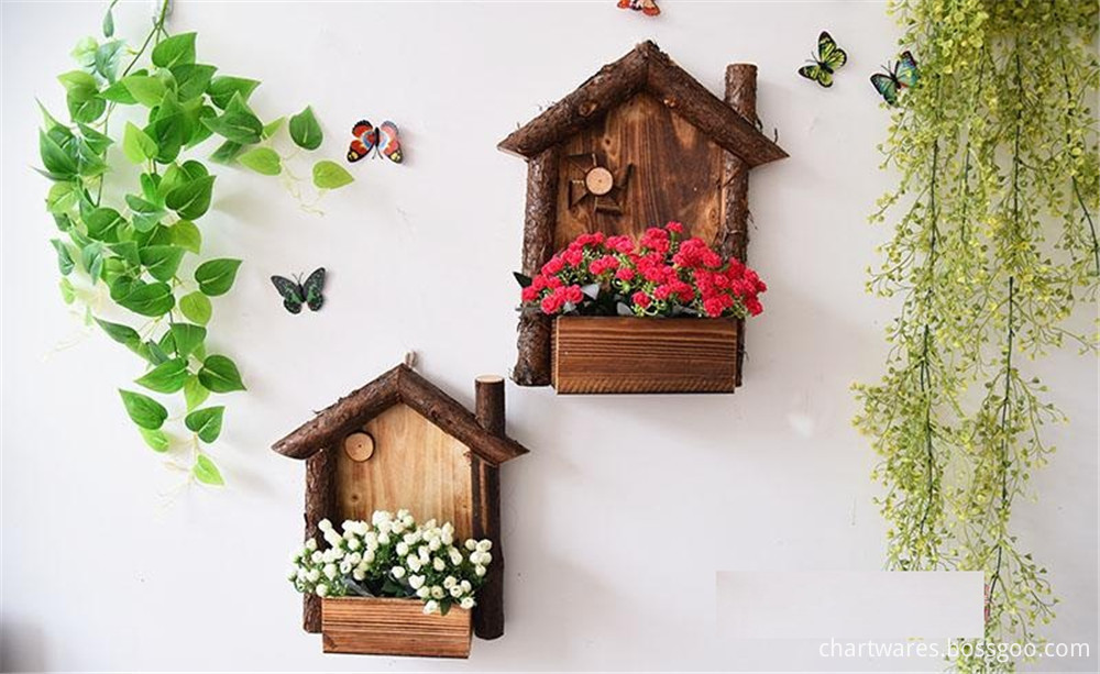 wooden flower and plant pot