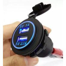 Waterproof Panel Mount Dual USB Power Socket Charger Car Truck 12V 24V 1A 2.1A