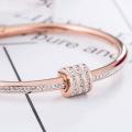 18k Rose Gold Small Bangle Bracelets With Stones