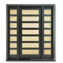Puerta de madera sólida exterior con estilo contemporáneo con vidrio