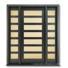 Porta de madeira contínua exterior estilo moderno com vidro