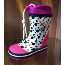 Polka Dots Children Rubber Half Rain Boots With Cover Waterproof