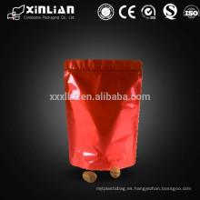 Bolso hermético del bolso del papel de aluminio del ziplock del rojo brillante