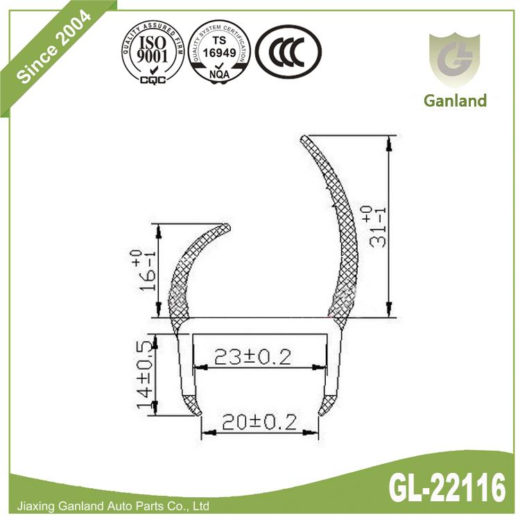 Sliding Door Seal GL-22116