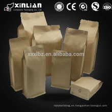 Bolsa de papel Brown con mango / bolsa de papel marrón Kraft / bolsa de café