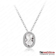 Platinum Plated Bling Oval Cubic Zircon Wedding Pendant (CNL0053-B-2)