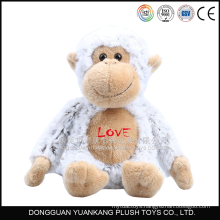 "10"" Stuffed white monkey with soft plush fabric love plush toy"