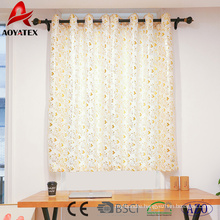 New design foil leaf printed linen window curtains for living room