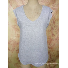 Fashion Bamboo Cotton V Neck Custom Wholesale Girl′s T Shirt