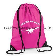 Hot Pink impermeável 210d nylon Kids Drawstring Gym Sack Cinch Pack