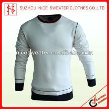 Contrast color men's pullover crew neck sweaters