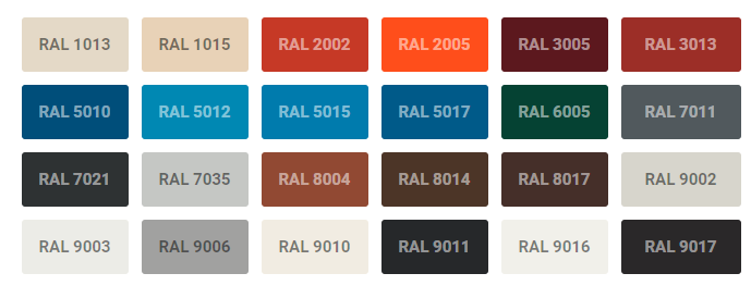 RAL COLORS YINGYEE