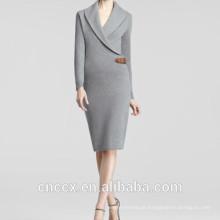 15STC6601 dois vestido de camisola de lapela